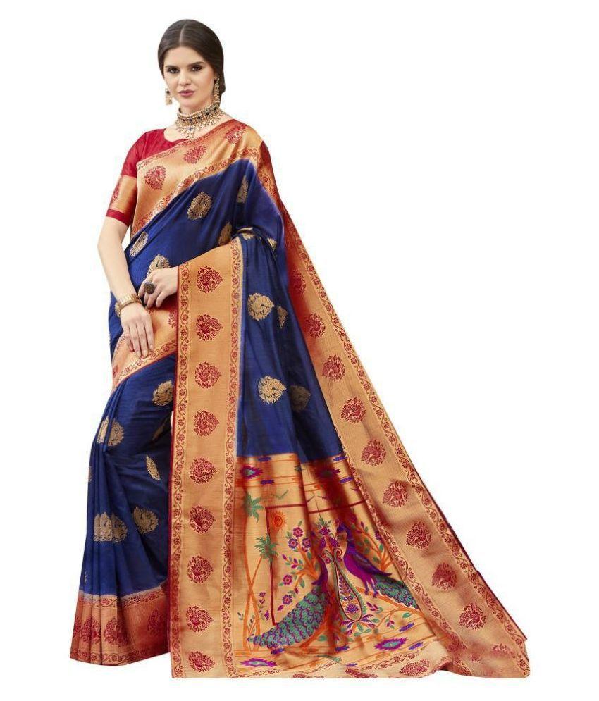Shaily Retails Blue Art Silk Saree