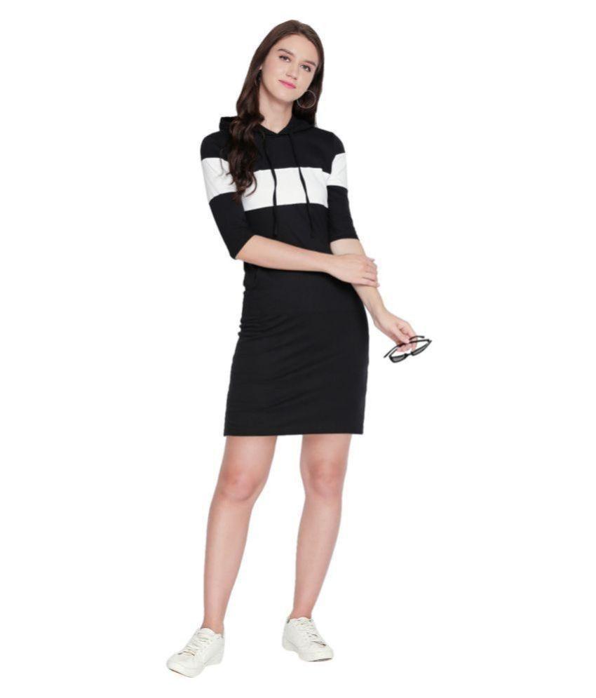Jhankhi Cotton Black T-shirt Dress
