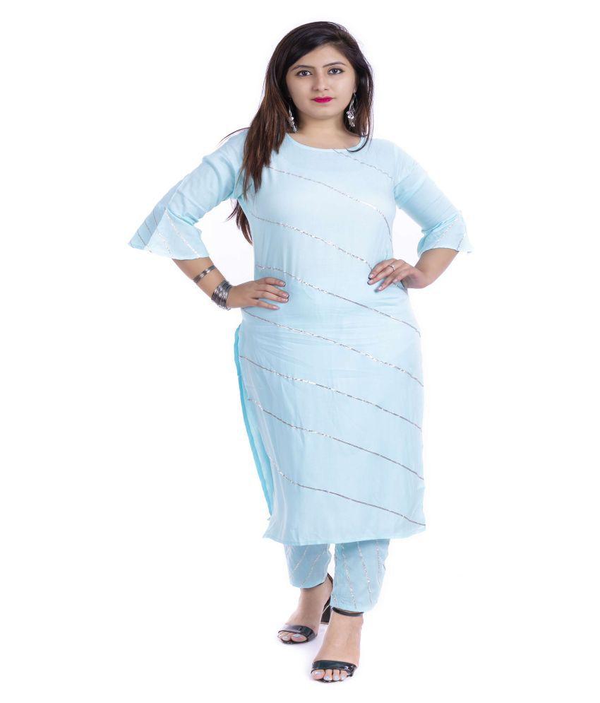 Pooja Fab Blue Rayon Straight Kurti