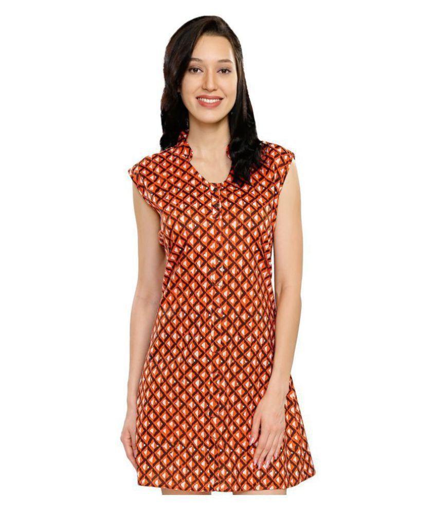 Smarty Pants Cotton Orange A- line Dress
