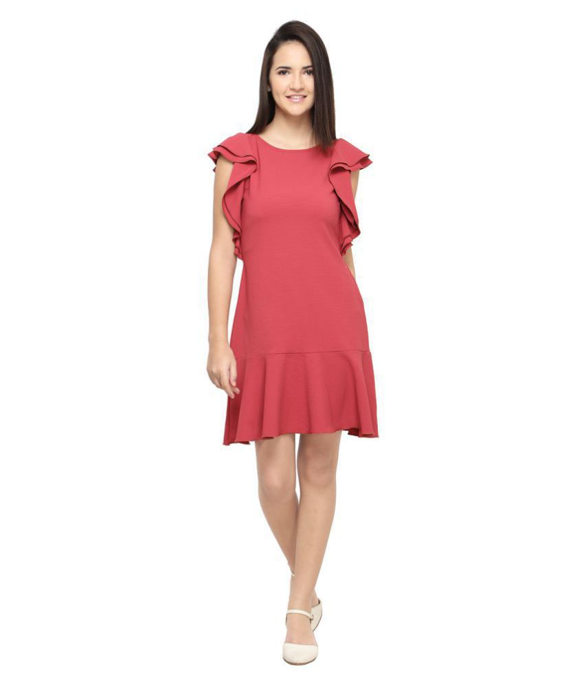 Smarty Pants Poly Cotton Maroon A- line Dress