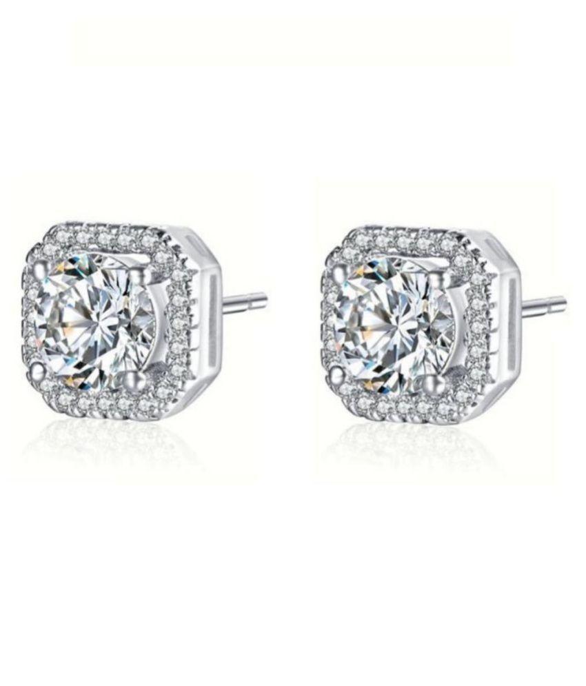 Style Statement Zircon Silver Stud Earring For Women & Girls