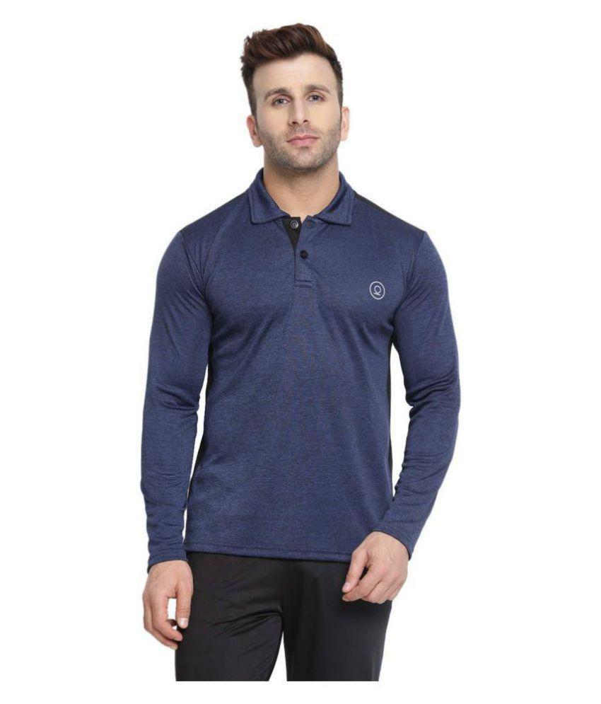 CHKOKKO Dry Fit Sports Golf Polo Polyester Full Sleeves Plain T Shirt for Mens