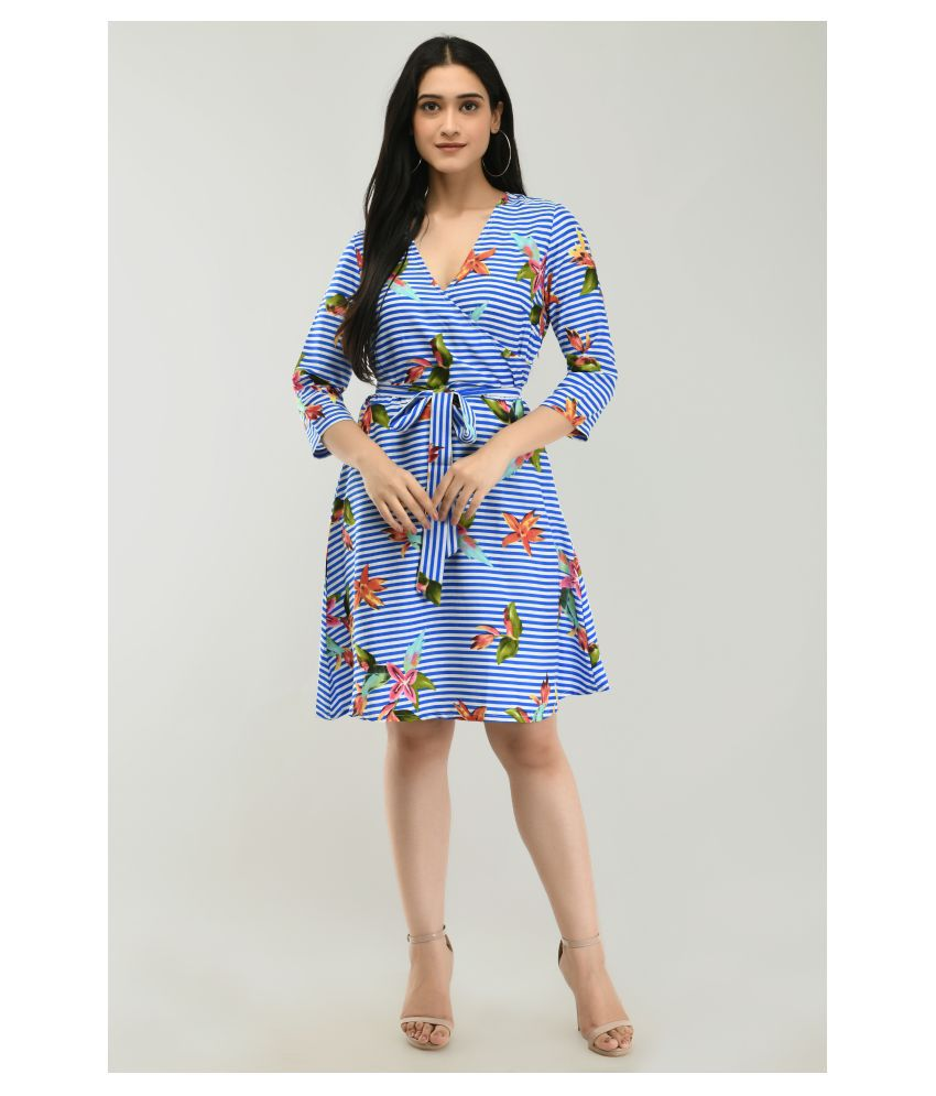 Ruby Creation Crepe Blue Fit And Flare Dress