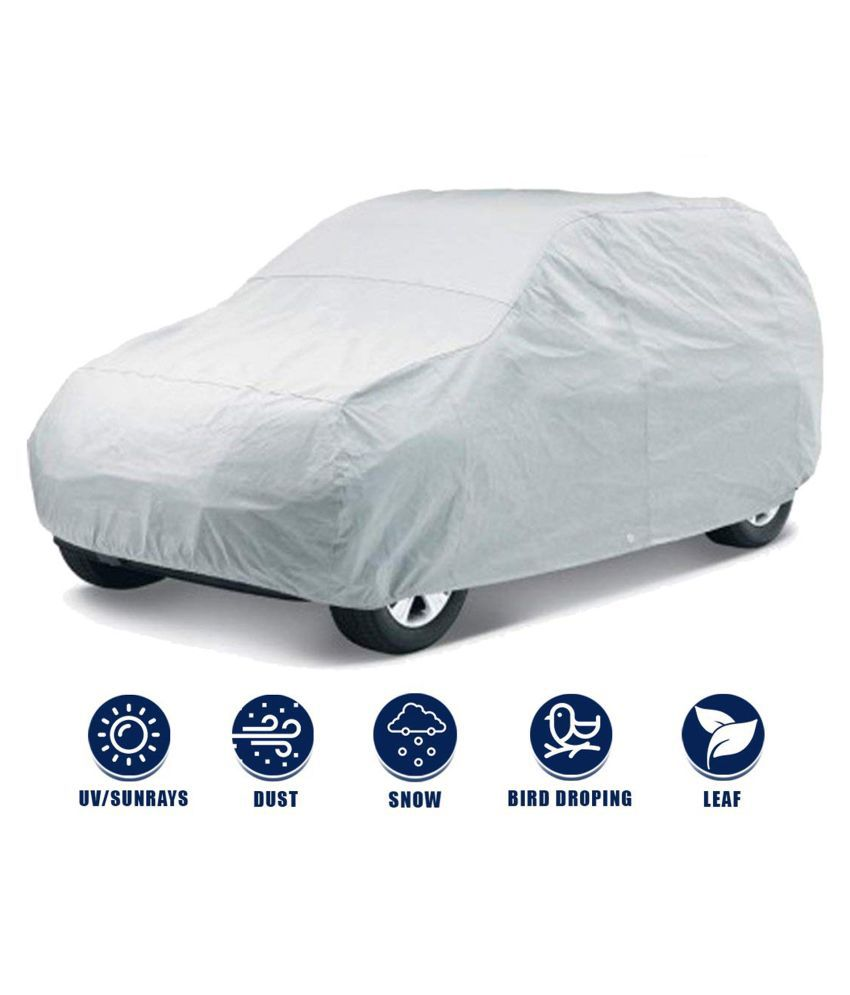 Soami Silver Matty Dust Proof Car Body Cover for Honda Brio with Triple Stitching & Light Weight (Silver Colour) Model 2018-19