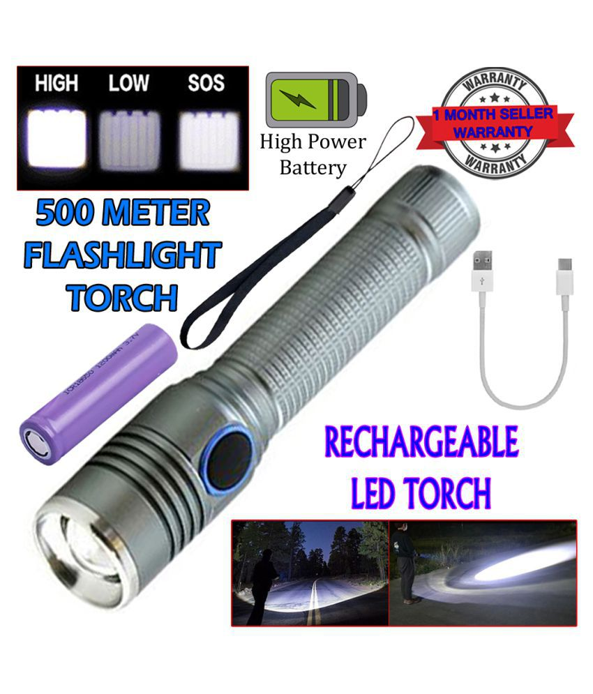 SM Rechargeable 3 Mode 400M Zoomable Torch 9W Flashlight Torch 9W Flashlight Torch Usb Torch - Pack of 1