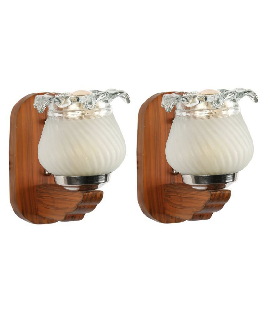 AFAST Decorative & Designer Glass Wall Light Off White - Pack of 2