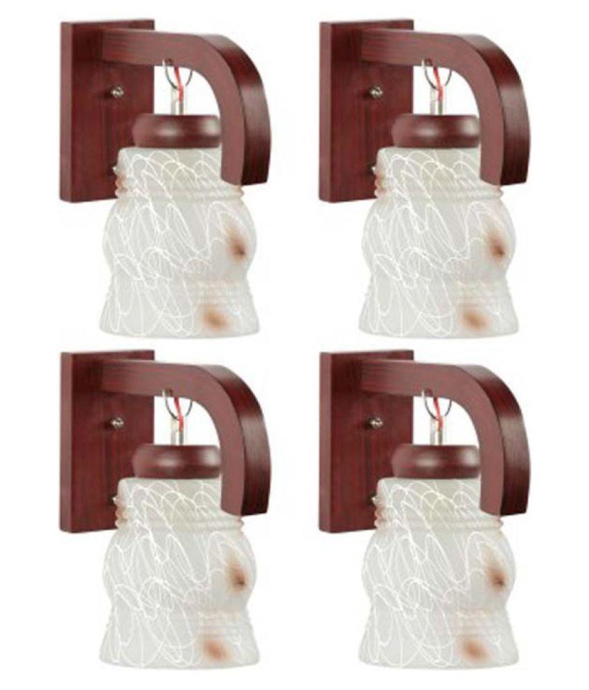 AFAST Decorative & Designer Glass Wall Light White - Pack of 4