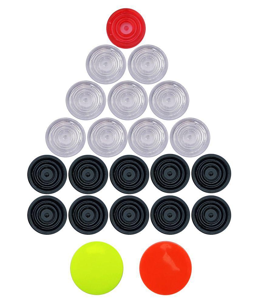 Sparsh Plastic Transparent  Carrom Coins - Set of 20 Coins & 2 Striker
