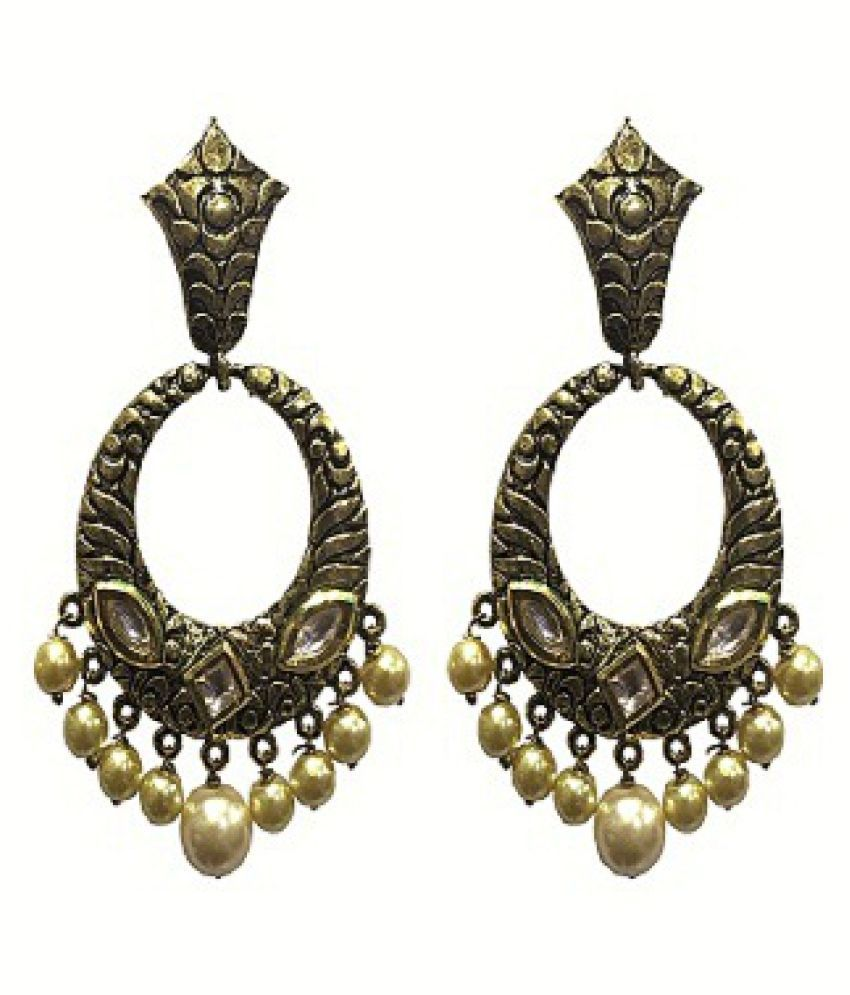 Ankur delightful with kundan and beads gold plated earring for women and girls