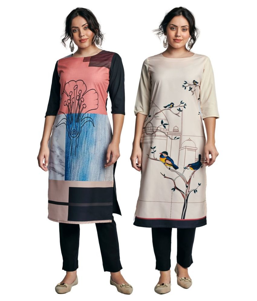 Fashion Tree Multicoloured Crepe Straight Kurti