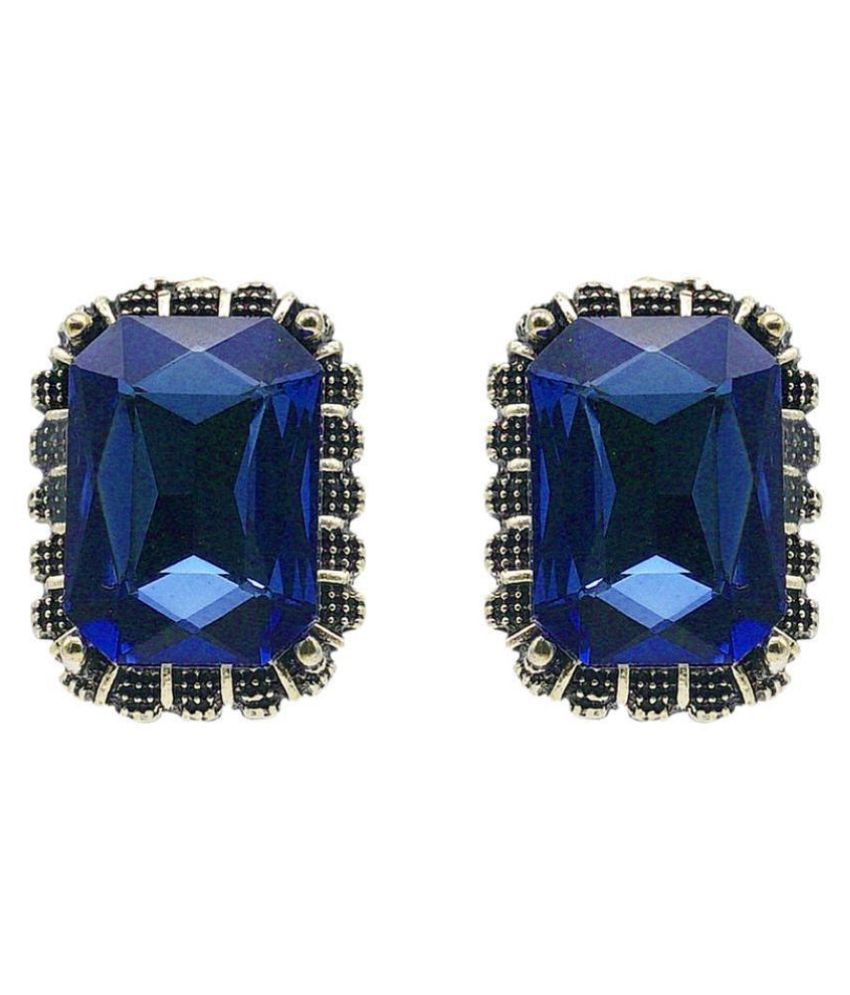 Kiyara Accessories Fashion Jewellery Emerald-Cut Coloured Solitaire Studs in Antique gold plating for women and girls.