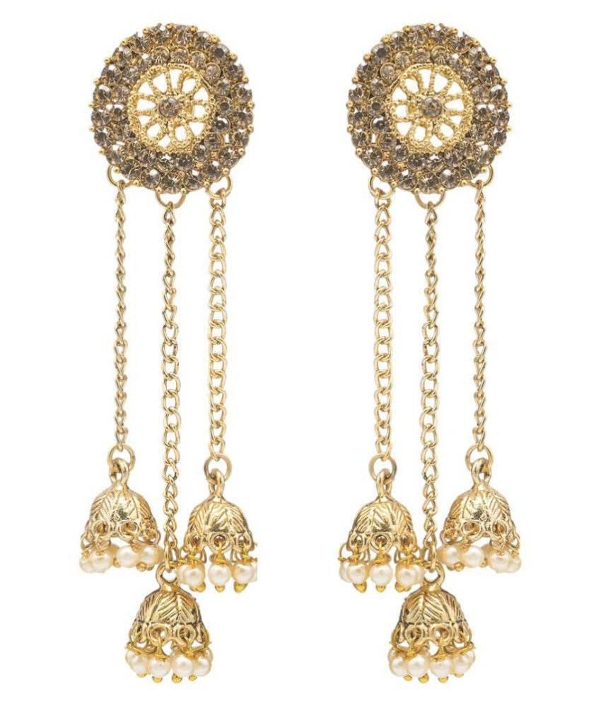 Kiyara Accessories fashion jewellery dangle and drop alloy long chain jhumki earrings with pearl for girls and women