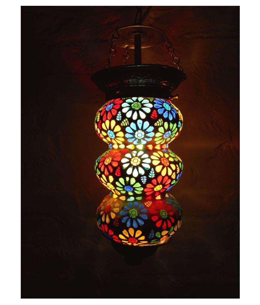 Susajjit Decor Glass Mosaic Night Decorative Lamp Pendant Multi - Pack of 1