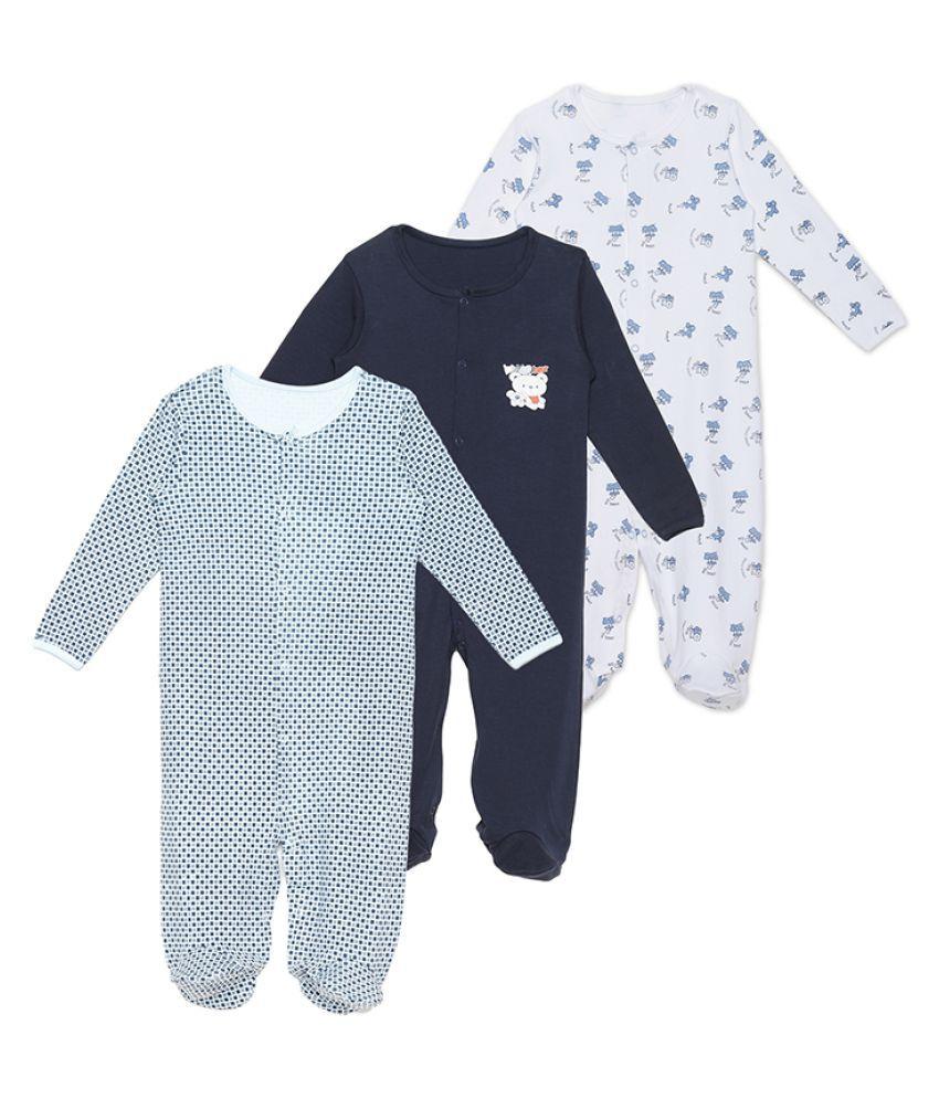 Rabbit Pocket Cotton Long Sleeve Jumpsuit Bodysuit Sleep Suit Multi-Color For New Born Boys and Girls Unisex Set of 3 Combo Pack