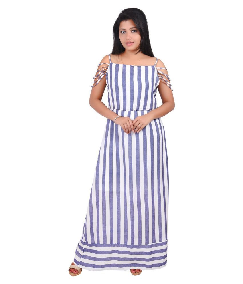 RIVI Georgette Blue Regular Dress