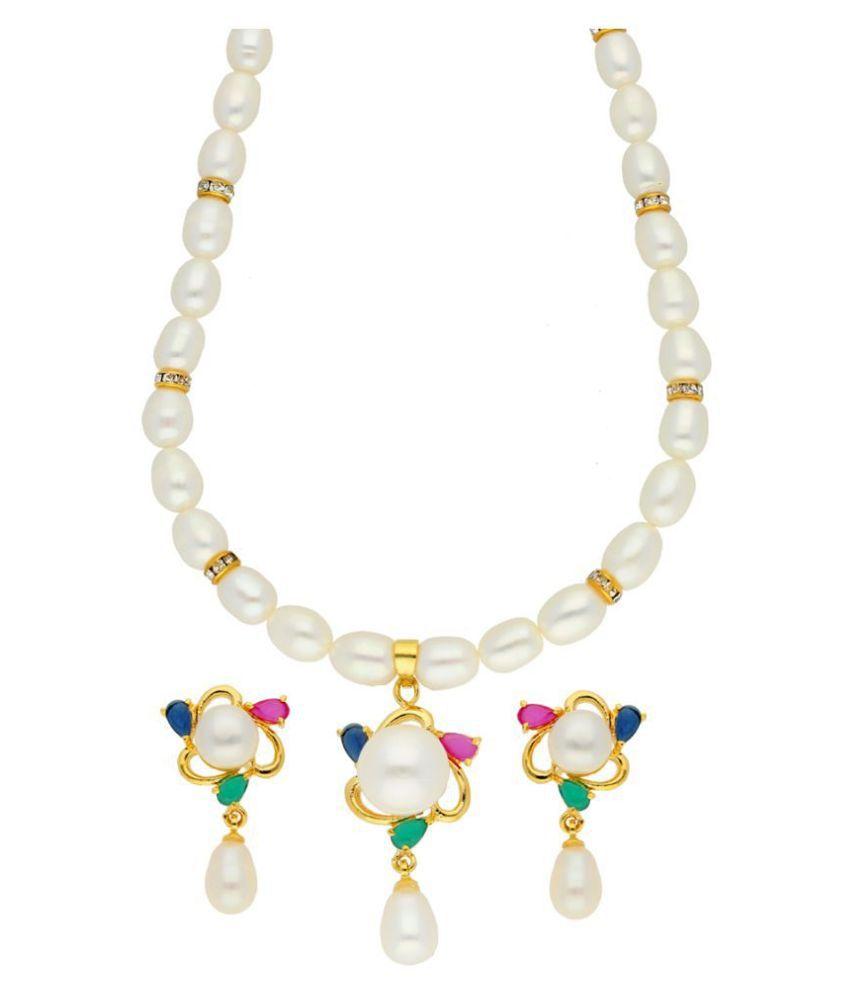 Sri Jagdamba Pearls Alloy Multi Color Contemporary Designer Gold Plated Necklaces Set
