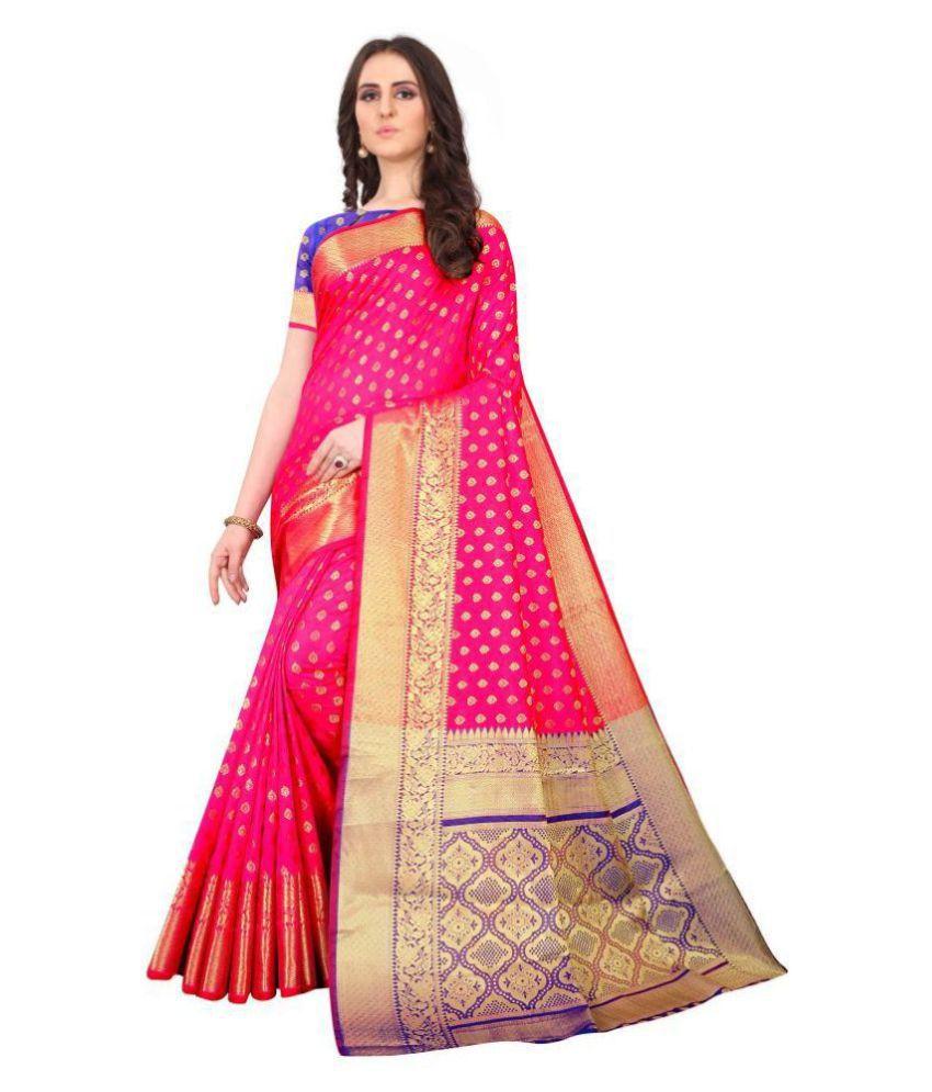 Fashion Basket Pink Jacquard Saree