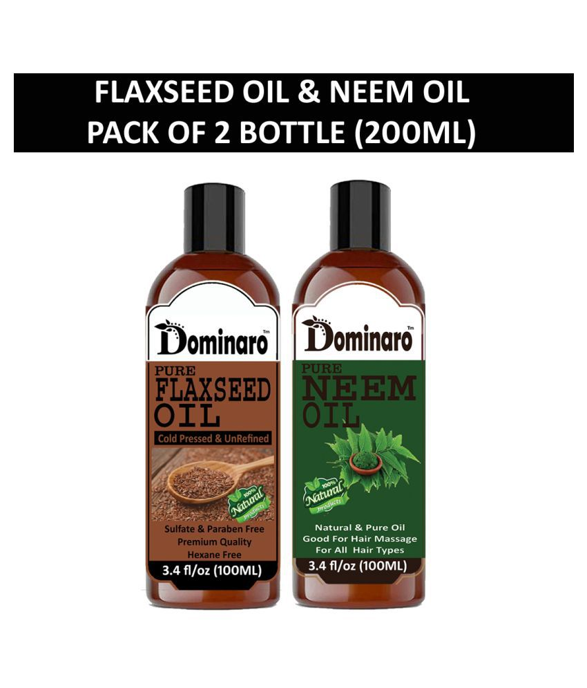 Dominaro 100% Pure Flaxseed Oil Neem Oil 200 mL Pack of 2