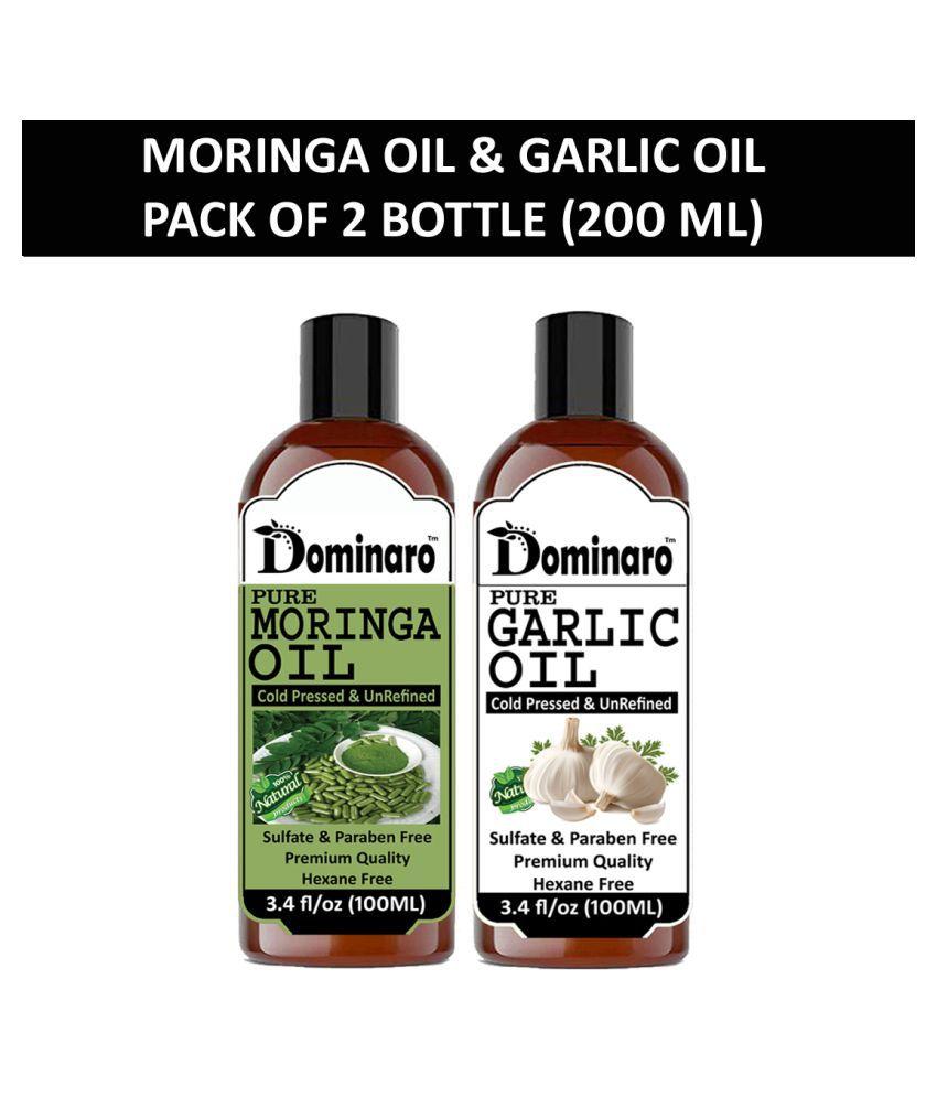 Dominaro 100% Pure Moringa Oil Garlic Oil 200 mL Pack of 2