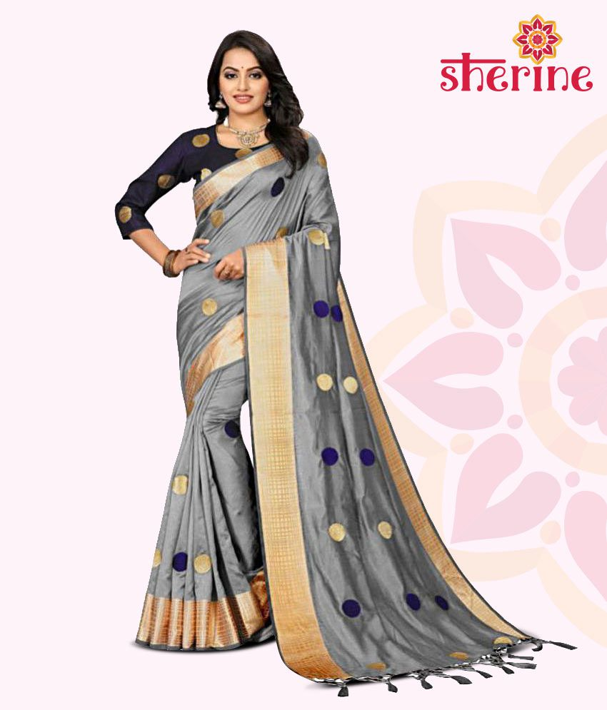 Ofline Selection Grey Jacquard Saree