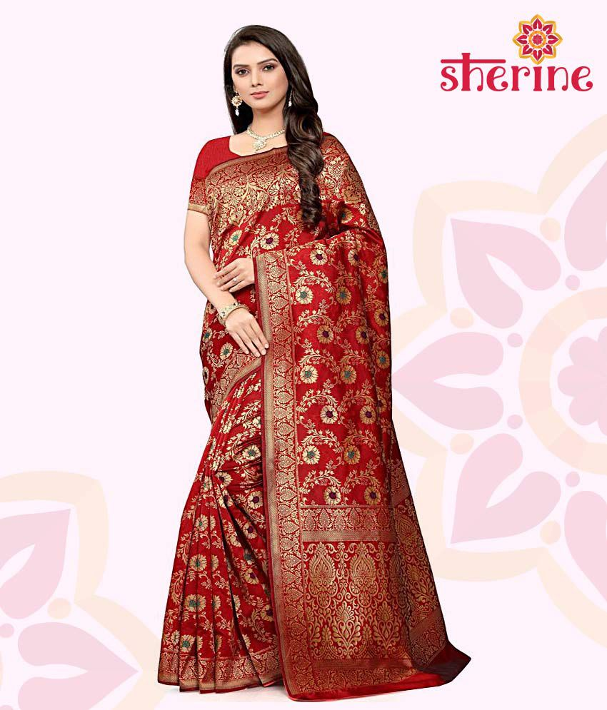 Sherine Red Poly Silk Saree