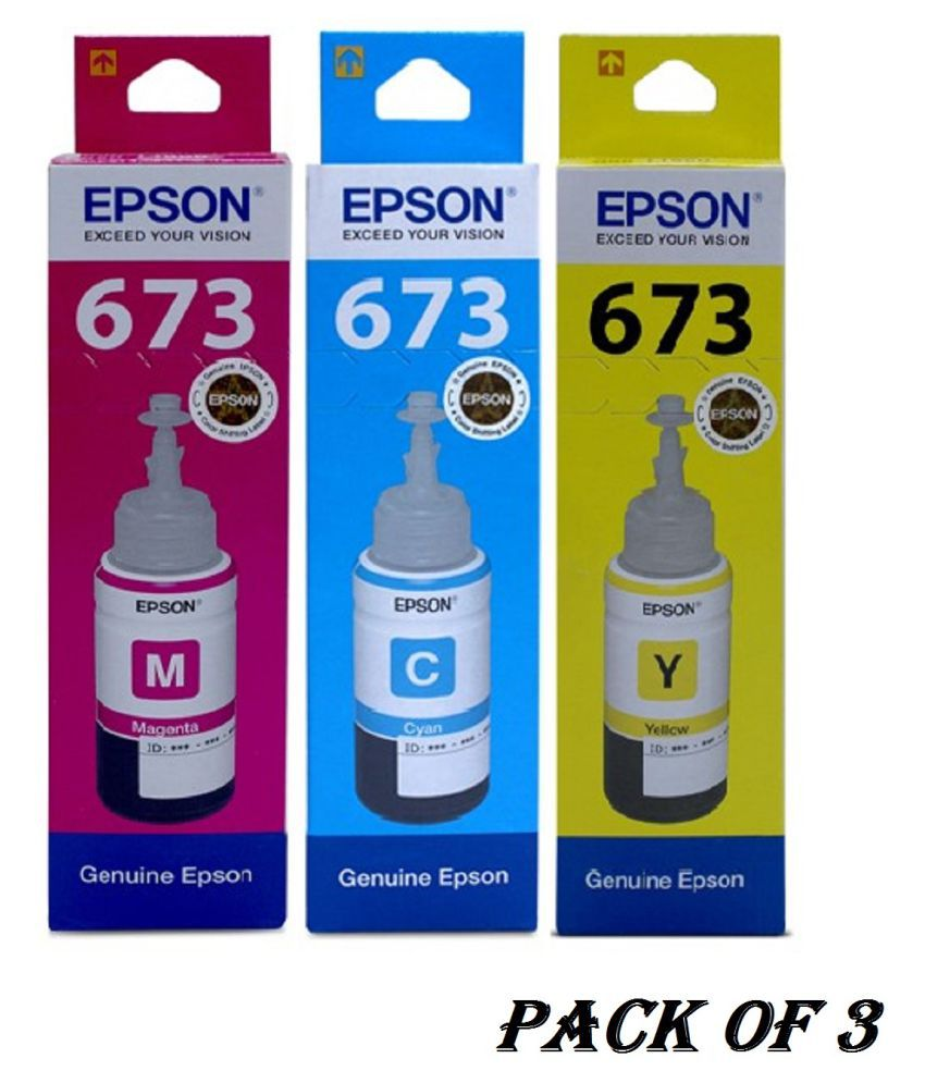 Indian Technology Epson 673 C,Y,M Multicolor Pack of 3 Ink bottle for Epson L800/ L805/ L810/ L850/ L1800