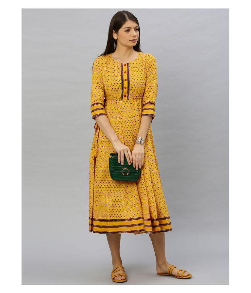 Akiko Cotton Yellow Regular Dress