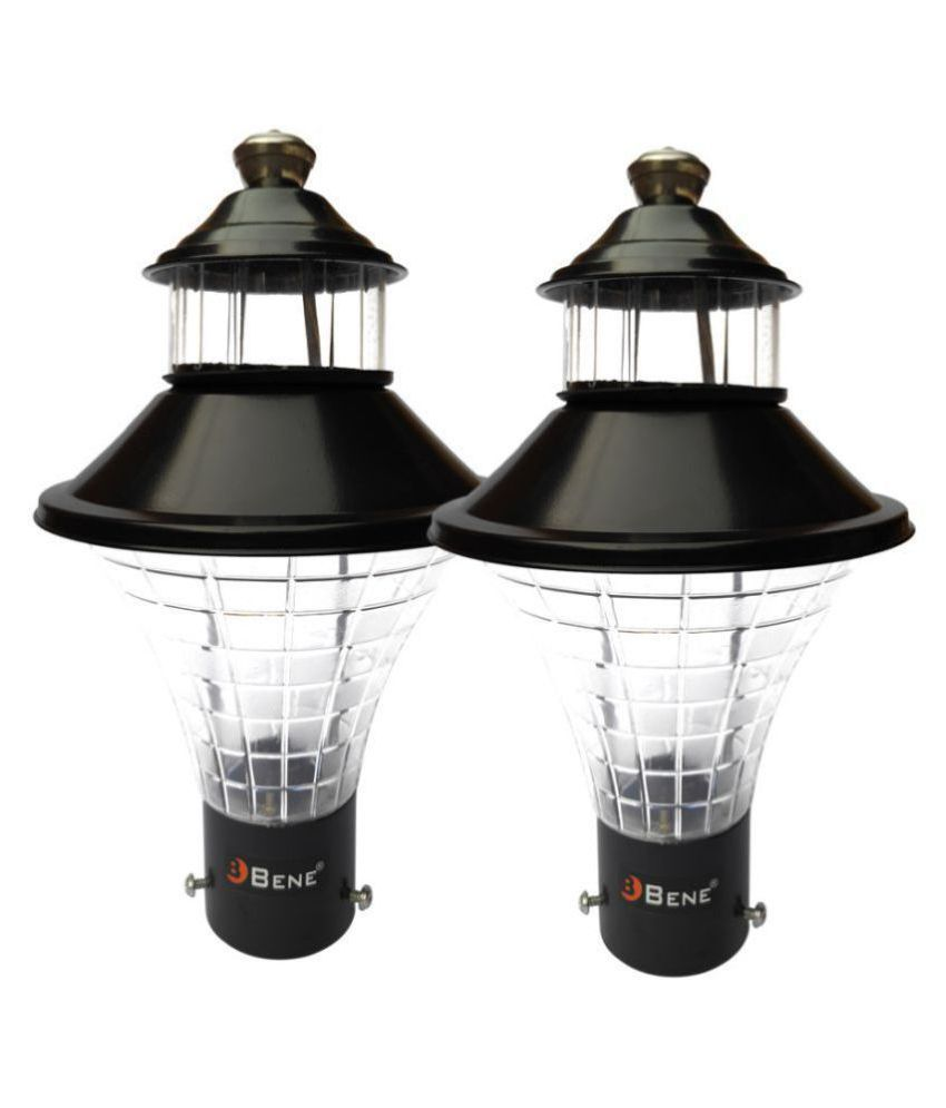 Bene Outdoor Lamp Geruit (Black, 18 Cms, Pack of 2 Pcs) Gate Light Cool Day Light - Pack of 2
