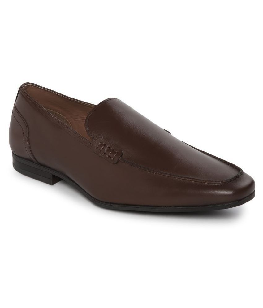 Red Tape Slip On Genuine Leather Brown Formal Shoes
