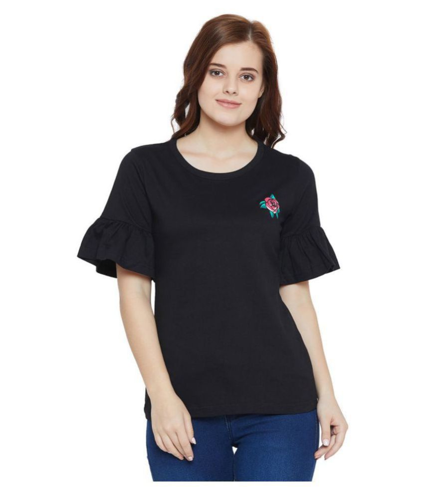 The Dry State Cotton Regular Tops - Black