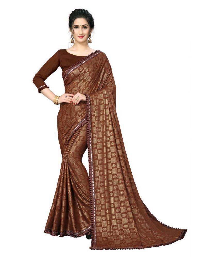 Shubh Sanidhya Brown Lycra Saree