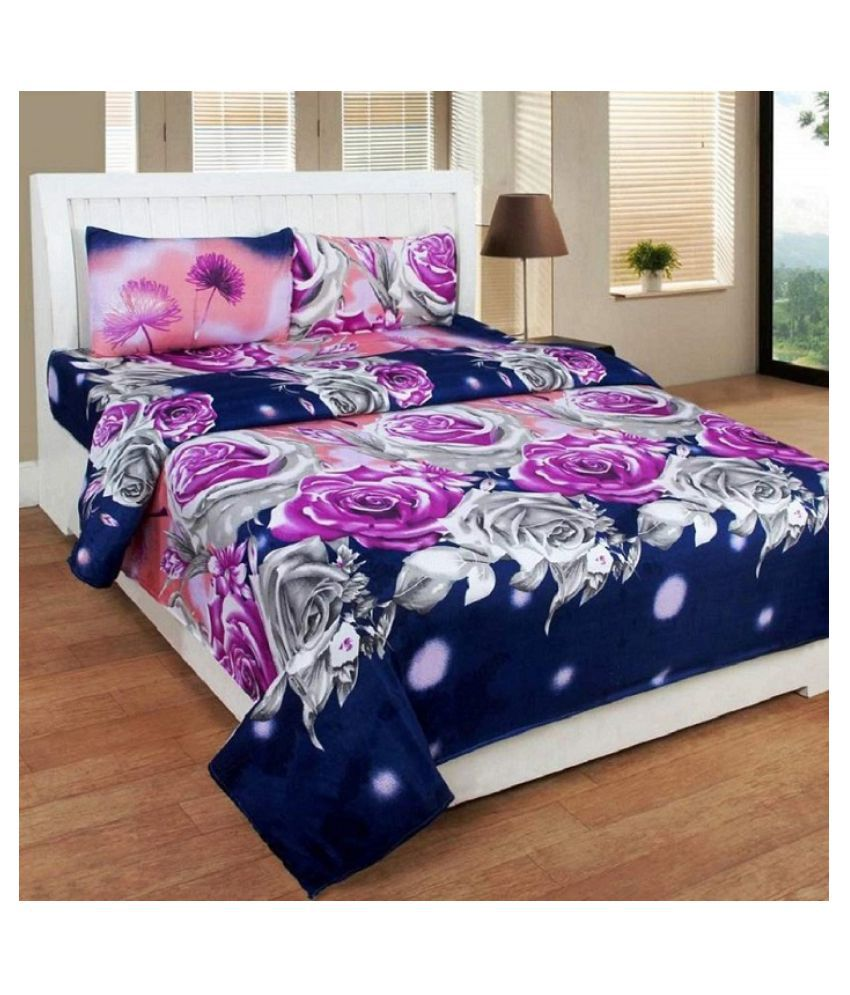BM Creation Poly Cotton Double Bedsheet with 2 Pillow Covers