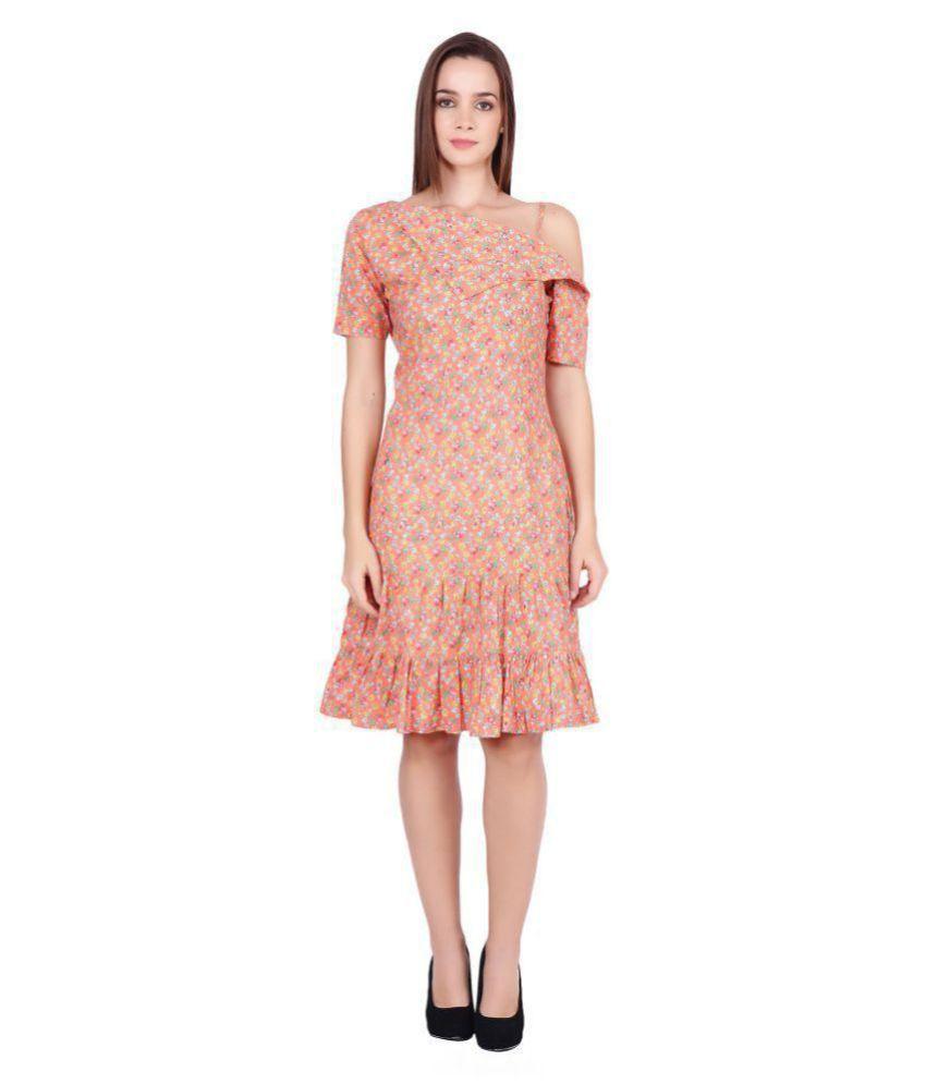 Meraki Vine Cotton Peach Fit And Flare Dress
