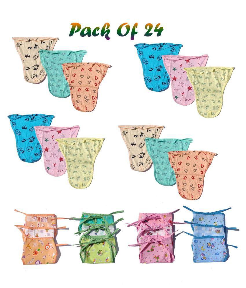 New Born Washable Reusable Hosiery Cotton  amp; Woven Cotton Nappy/ Langot/ Diapers, 0 6 Months  Multicolour    Pack of 24