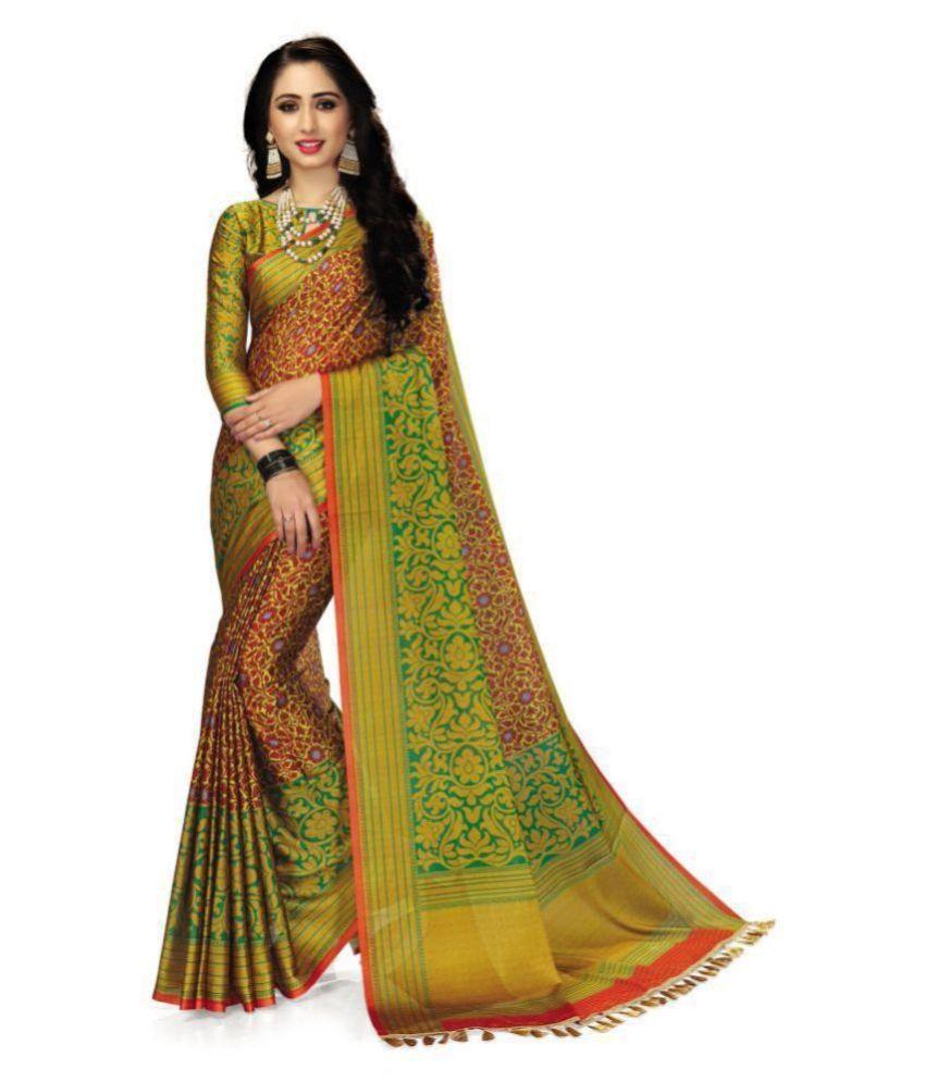 Venisa Green,Orange Cotton Silk Saree