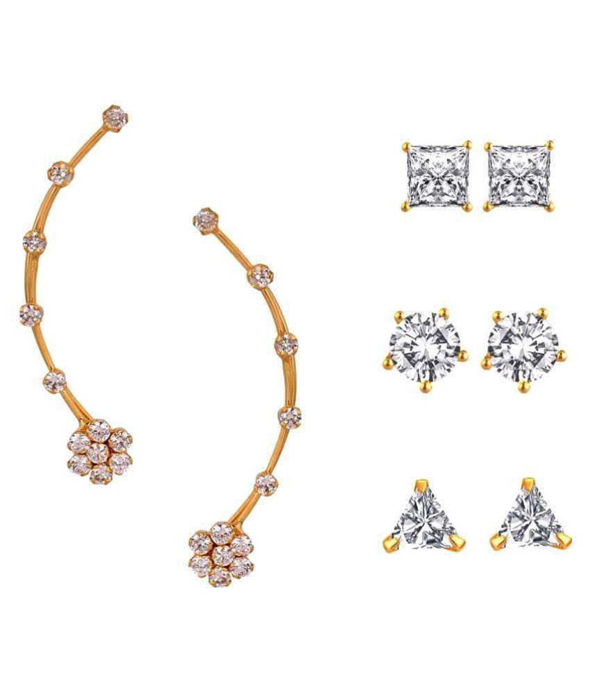 Efulgenz White Earrings - Pair of 4