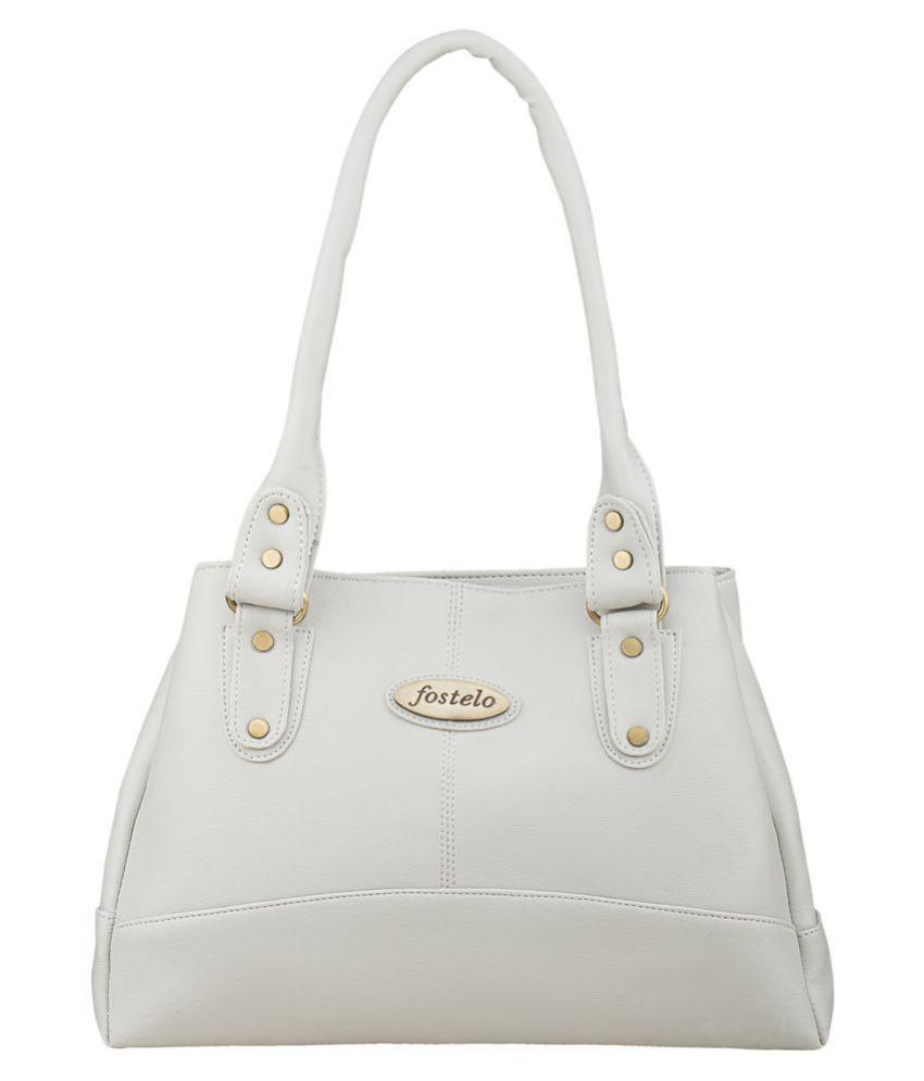 Fostelo White Faux Leather Shoulder Bag