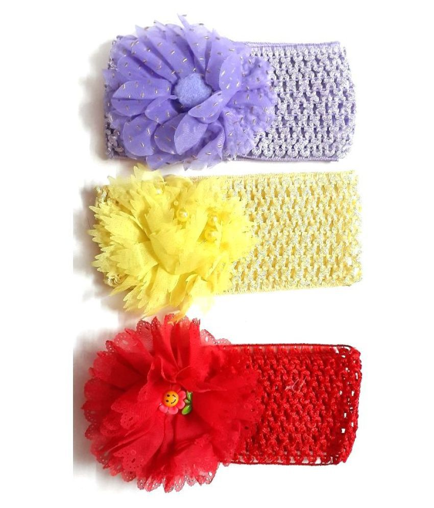 Unique Indian Crafts Handmade Artifical Jewellery crochet and foam sheet work head kids band.(Combo of 3)