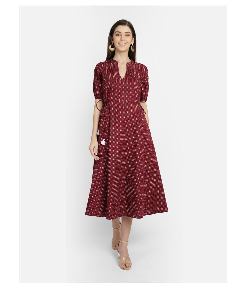Yaadleen Cotton Maroon Fit And Flare Dress