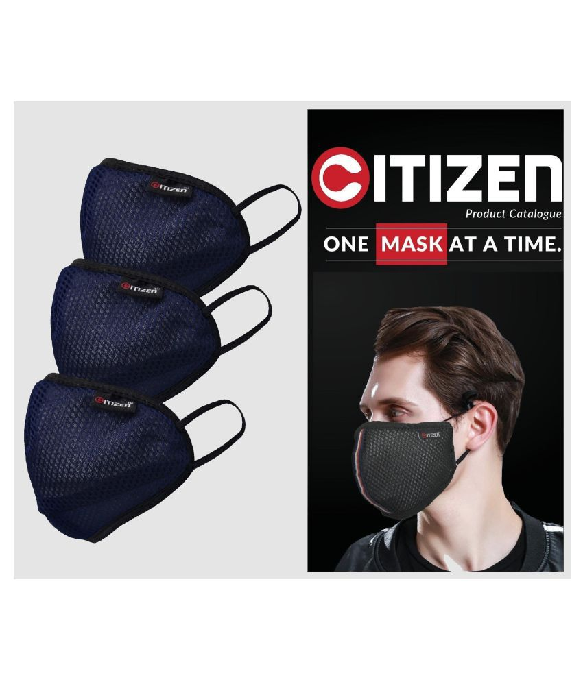 CITIZEN CORO SHIELD-SN95_6 Layer Reusable Outdoor Protection Blue Mask ( Pack of 3 )
