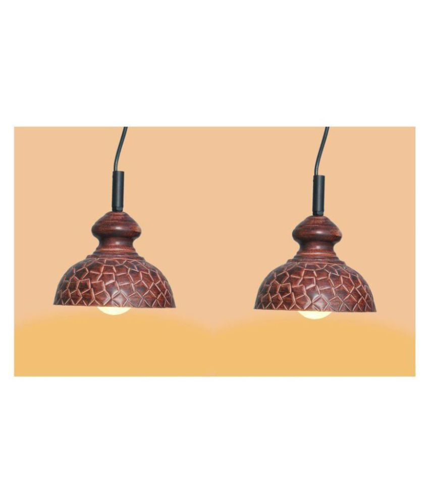 A&H Iron Geometrical Design Pendant Brown - Pack of 2