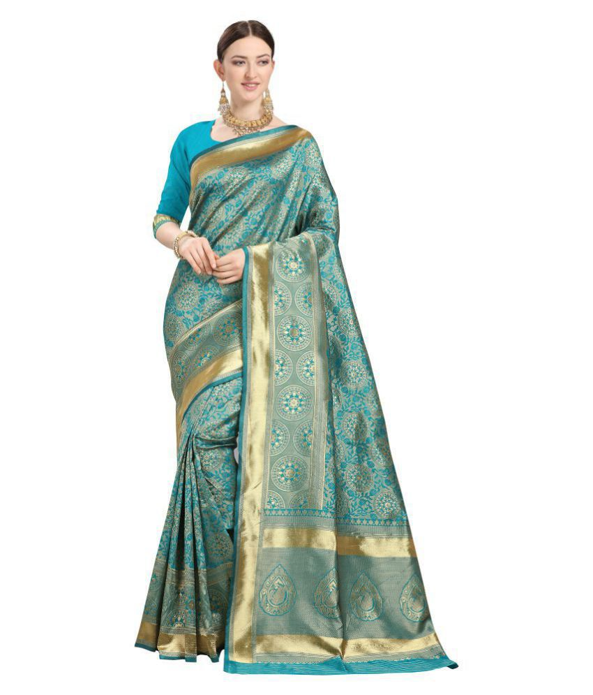 FashionUma Blue Jacquard Saree