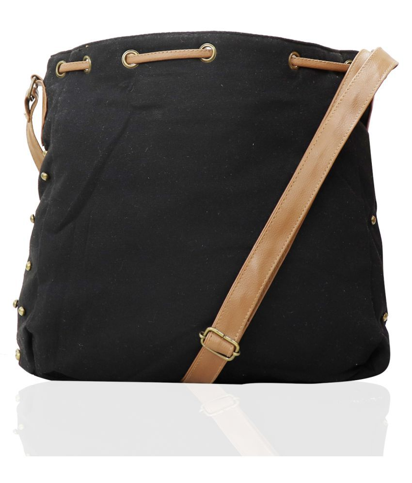 INDOFAS Black Canvas Sling Bag
