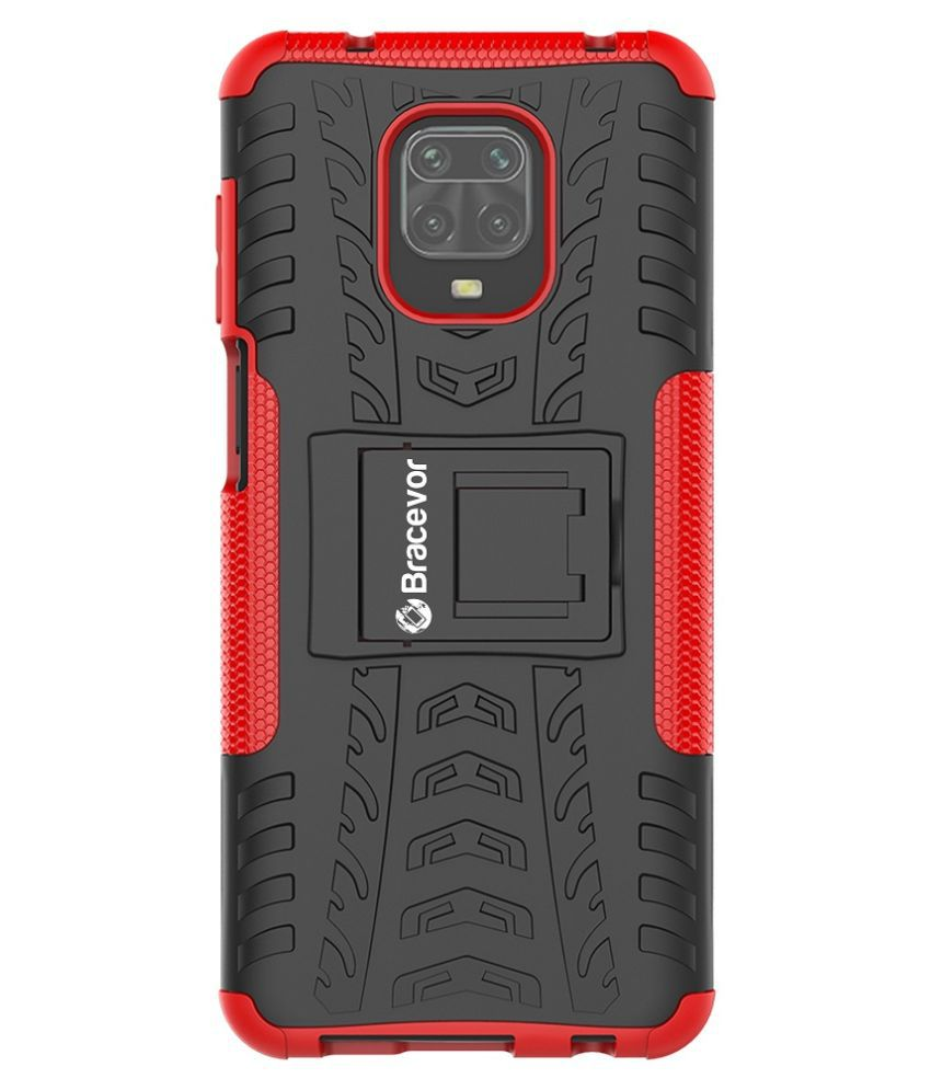 Xiaomi Mi Redmi Note 9 Pro Max Cases with Stands Bracevor   Red