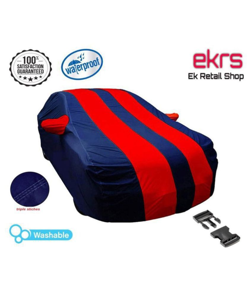 EKRS Car Body Covers For Hyundai EON Era Plus with Mirror Pockets, Triple Stitching & Light Weight (Navy Blue & RED Color)