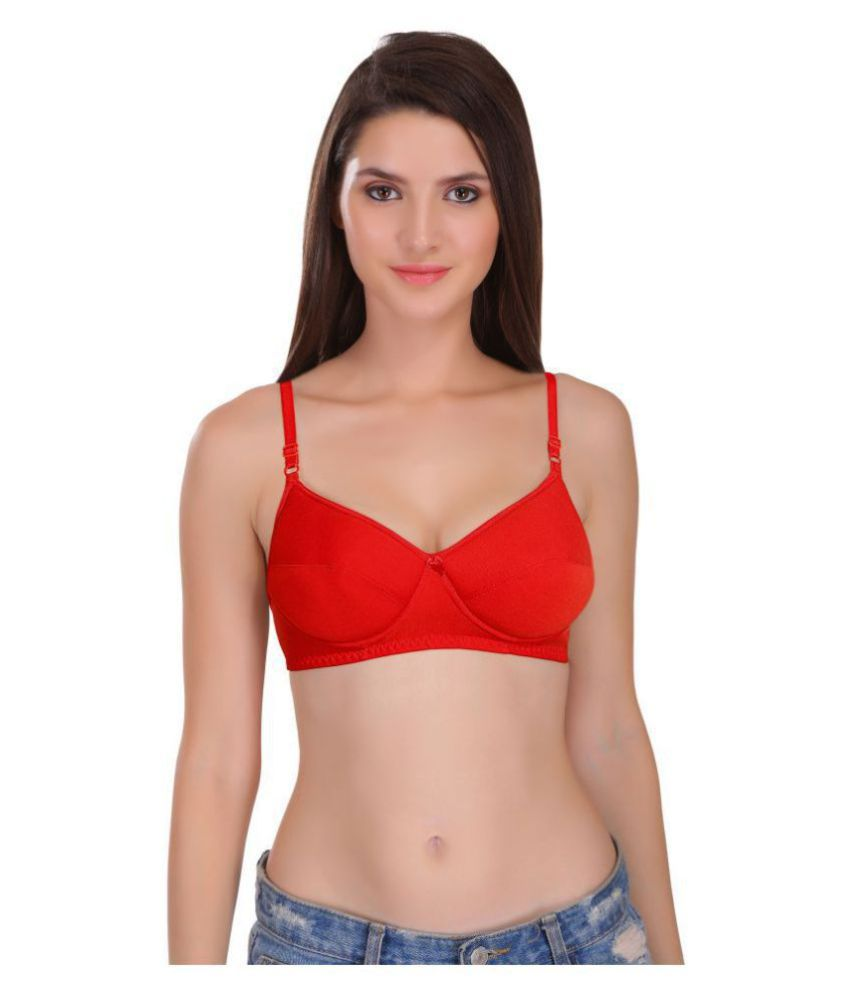 Featherline Poly Cotton T-Shirt Bra - Red