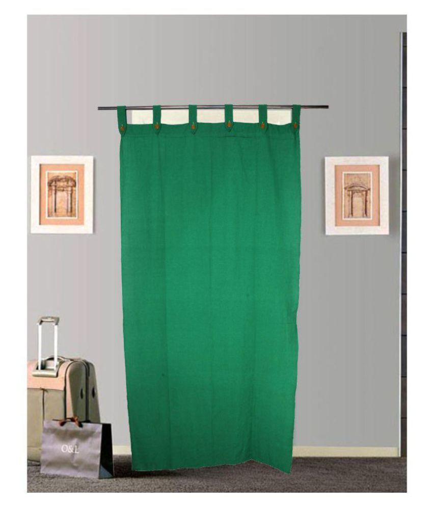 Tidy Single Door Loop Cotton Curtains Green