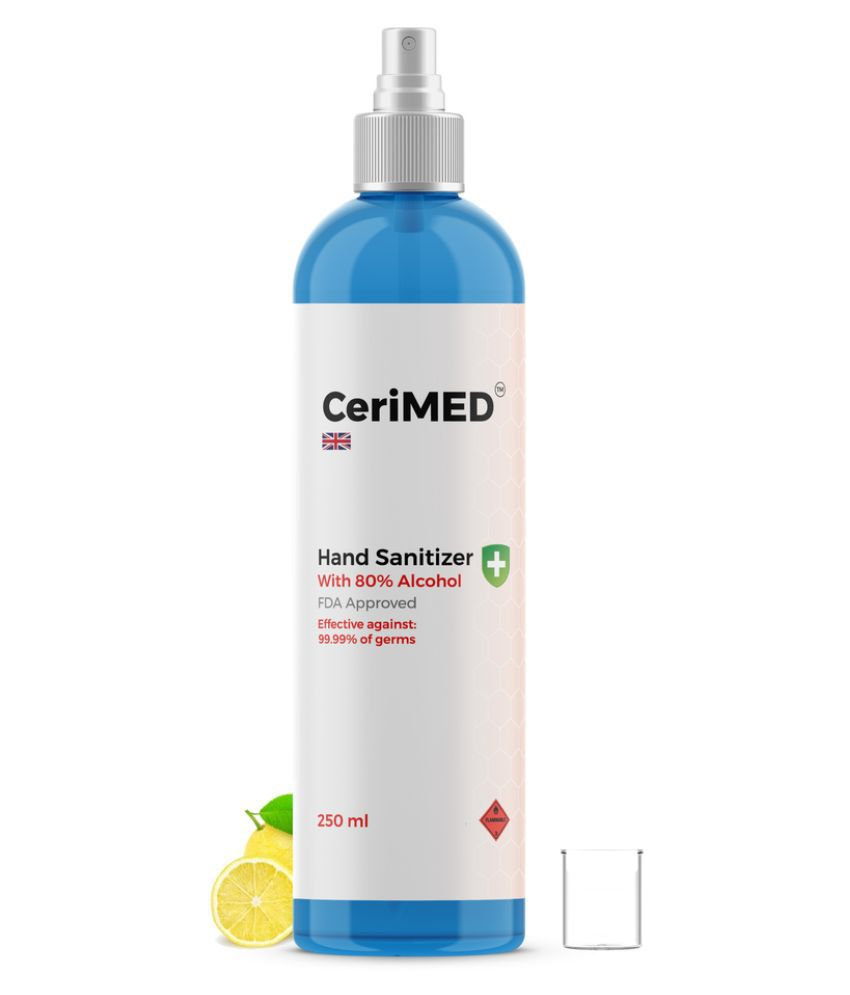 CERIMED 80% Alcohol Sanitizer Spray Pack of 1 Hand Sanitizer 250 mL Pack of 1
