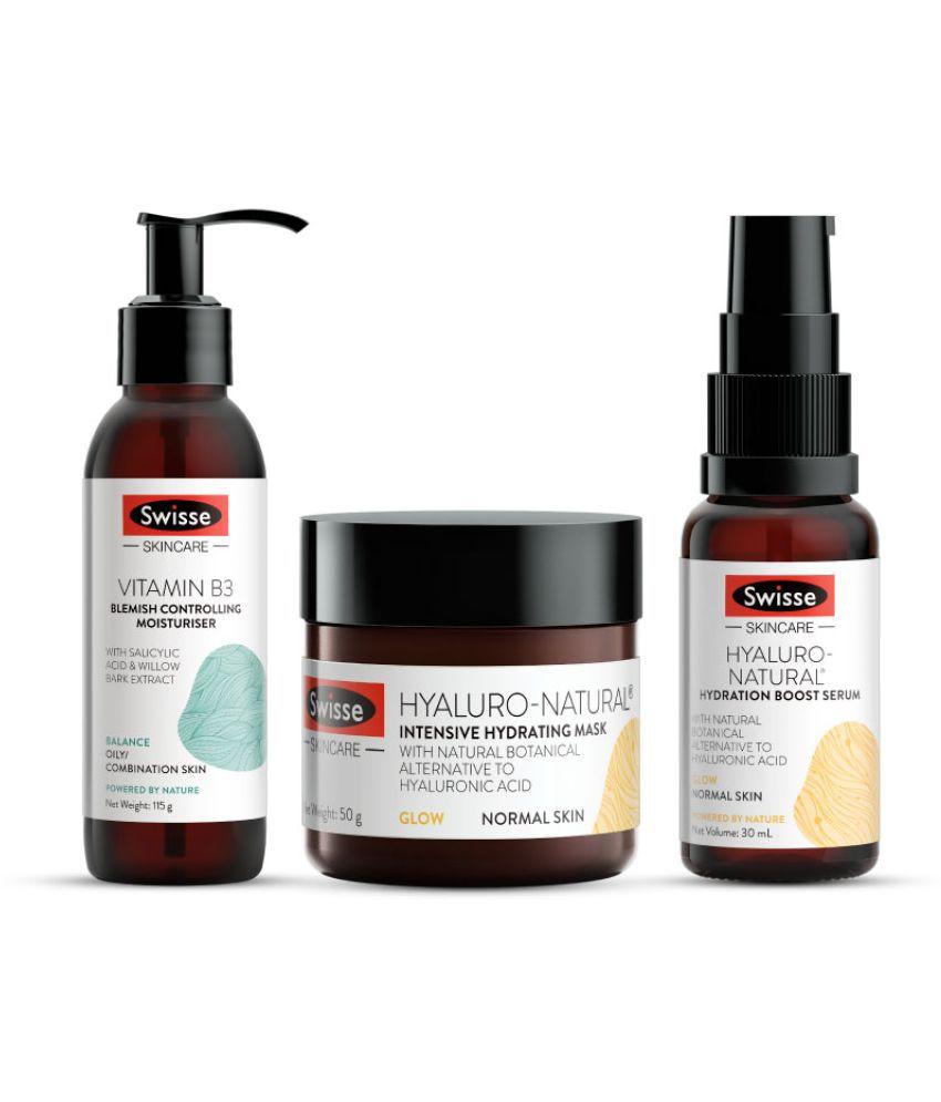 Swisse Vitamin rich Hydration combo-Vitamin B3 Moisturiser 115ml,Hyaluro-Natural  Mask 50g; Hyaluro-Natural Serum 30ml (Pack of 3)